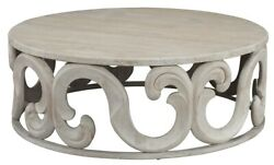 42 W Coffee Table Solid Pine Wood Antique Grey White Finish Leaf Detail Base