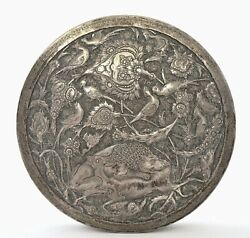 Antique Persian Solid Silver Repousse Box Lion Hunt Deer And Bird Mk 470 Gram