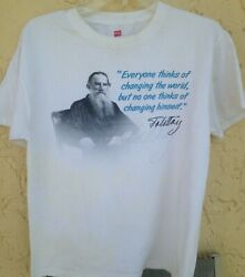 VIntage 90#x27;s Leo Tolstoy Change The World Russian English T Shirt Size M