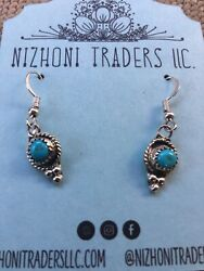 Navajo Sterling Silver And Turquoise Beaded Dangle Earrings $24.00