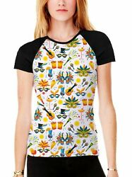 Brazil Carnival Cocktail Pattern Womens All Over Graphic Baseball T-shirt