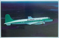 Vintage Postcard Buffalo Airways Airlines Douglas Dc-4 Airplane Mary Jayneand039s