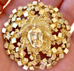 LA TRIOMPHE 14K Yellow Gold Medusa Pendant Brooch Cubism Design With Diamonds