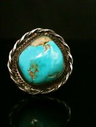 Size 10.5 Native American Southwestern Vintage Estate Turquoise And Silver Ring