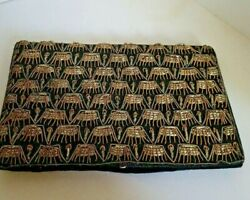 Black And Gold Clutch Purse Made In India Embroidery and Beads $15.00
