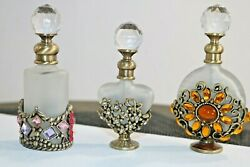 Silver Overlay Vintage Perfume Holders And Glass Refillable Bottles Jars