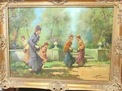 Women And Girl Italian Landscape Scene Original Oil On Canvas Painting Signed