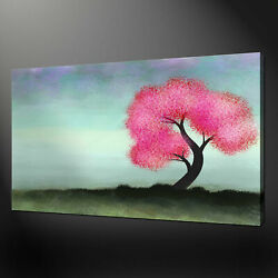 Pink Tree Splatter Paint Abstract Canvas Print Picture Modern Ready To Hang