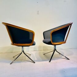 Nest Guest Chairs By Todd Bracher For Hbf In Smoke And Charcoal Grey - A Pair