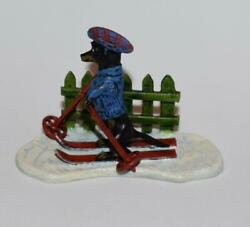 Austrian Vienna Bronze Cold Painted Miniature -dog Cross Country Skiing -2h-exc