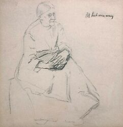 MAX LIEBERMANN 20th c. German Impressionist ORIGINAL DRAWING OF AN ELDERLY WOMAN