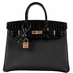 Hermes Birkin Touch 25 Black Togo & Niloticus Crocodile Rose Gold Hardware - Lim
