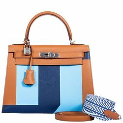 Hermes Kelly 28 Sellier Resort S 2018 Gold Celeste Blue Palladium Hardware