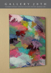 Sublime Feather Fantasia Original Abstract Oil Painting Vtg Fine Art 1980and039s