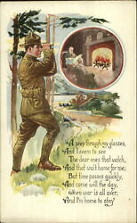Wwi Us Soldier W/ Binoculars Sees Mom And Dad At Home By Fireplace Postcard
