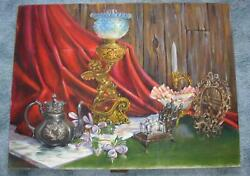 ITALIAN ROCOCO RENAISSANCE PAINTING CHERUB VENETIAN GLASS LISTED OIL PAINTING