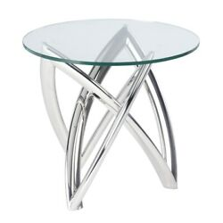 23.8 W Set Of 2 Side Table Polished Stainless Steel Modern Base Tempered Glass
