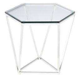 23.5 L Set Of 2 Hex Side Table Polished Stainless Steel Modern Tempered Glass