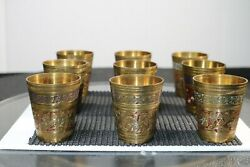 Vintage Antique Brass Or Copper Small Cup / Shot Glass Hand Etched Red Color