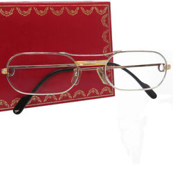 AUTHENTIC CARTIER glasses Trinity sunglasses SilverGold Stainless Steel 0135