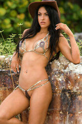 Colleen Kelly Designs SLASHED LACE CONCHO-KINI Paisley brown suede + copper ML