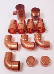 Assorted 1.5 Copper Sweat Fittings 4-reducers4- 90 Degree Elbows 2 Caps