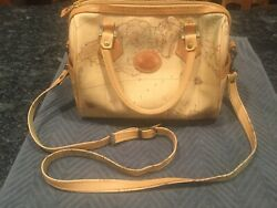 Allen Edward Map Purse Hand Bag With Map Design Outside Pockets Removable Strap
