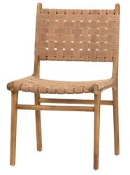 19 W Set Of 2 Placido Dining Chair Teak Wood Frame Woven Leather Strapping