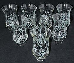 Glass Hurricane Shades Acid Etched 8 Matching Vintage