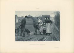 ANTIQUE PIT BULL TERRIER GUARD DOG DOGS WOMAN BASKETS FRONTIER PIONEER PRINT