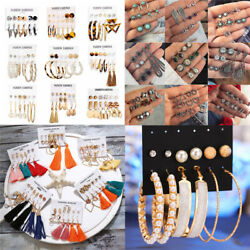 Fashion Tassel Shell Crystal Pearl Earrings Set Women Ear Stud Jewelry 26 Pairs