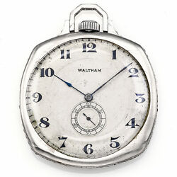 Antique Platinum Diamond And Sapphire Waltham Pocket Watch With Ruby Movement