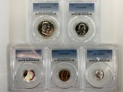 1951 Pcgs Graded Proof Set Coins Wheat Penny Rainbow Toned Pr67-66-65 Rare Lot