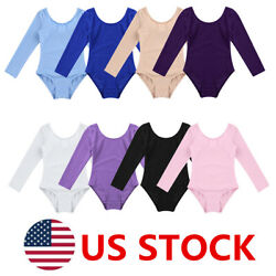 US Girls Gymnastics Ballet Leotard Kids Dance Long Sleevs Training Tops Costumes