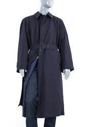 9250 Mens Brioni Exclusive Wool Silk Line Trench Jacket Belted Mac Coat Size 56