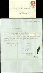 1853 Jan 4, New York Cds To Philly, Letter Silk Undersleeve Bands, Sc 10a, 210