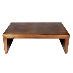 54 W Charles Copper Coffee Table Industrial Copper Metal Clad Wood Frame