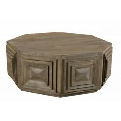 48 W Coffee Table Square Terracce Detail Solid Mango Wood Octagonal