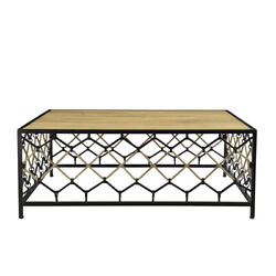 50 L Benoit Coffee Table Solid Wood Iron Base With Woven Rope Detail