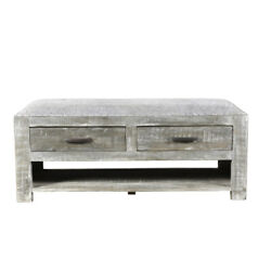 46 L Bench Coffee Table Fabric Seat Solid Wood Rustic Grey Finish Traditional
