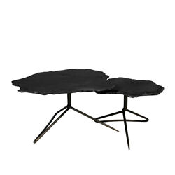 35 L Coffee Table Duo Live Edge Free Form Stone Tops Folded Iron Base Modern