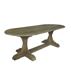 95 L Charles Oval Dining Table Recycled Solid Hardwood Rustic Traditional