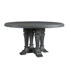 60 W Dining Table Solid Wood Grey Finish Traditional Four Legged Column Base