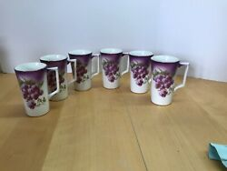 Set Of 6 Dresden China Lemonade Tall Cups Mugs Hand Painted With Grapes