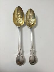 Set Of 2 Antique1850 Gb Sterling Silver Salad Spoon 8 3/4 Long 6 Oz Weight