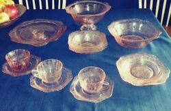 14 Pc. Recollection Pink By Indiana Glass Footed Cake Plate And Bowl,serving Bowl