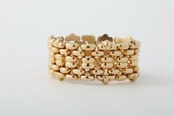 Wide 18K Gold Bracelet  Interlocking Links Mid Century