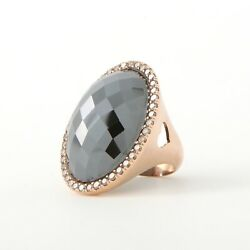 Large, Faceted Hematite And Diamond Statement Ring, 18k Rose Gold