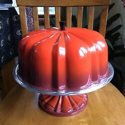 Nordic Ware Aluminum Metal Bundt Cake Stand Cover Lid Dome Ombre Orange Red Mcm