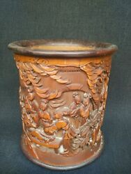 Collection Ancient China Redwood Bamboo Hand Carved Tree People Figure Brush Pot